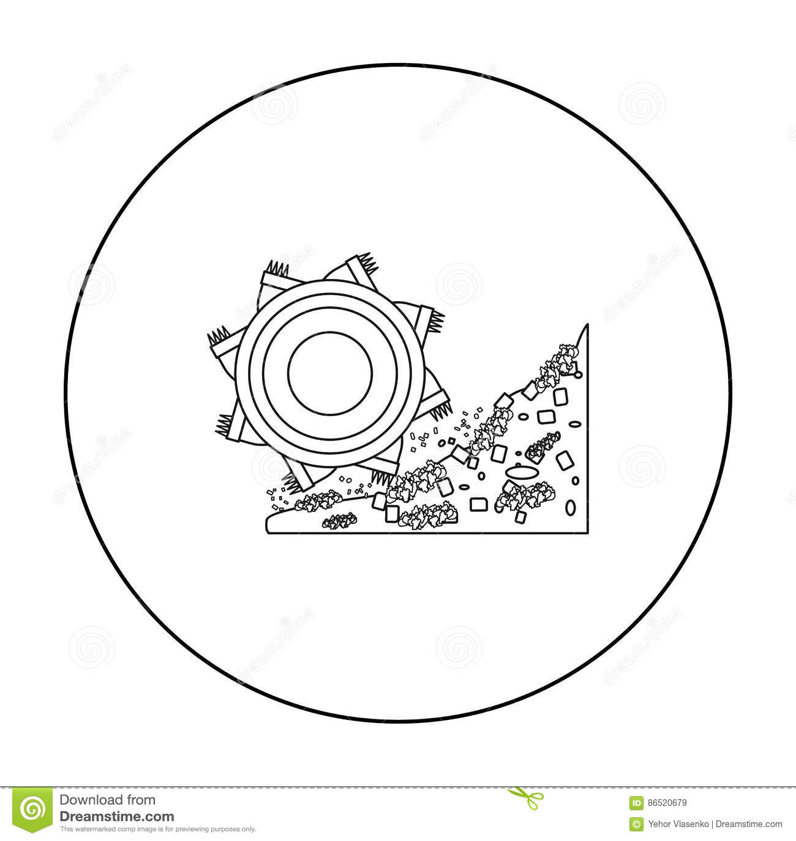 Outline Excavator Isolated Cartoon Vector