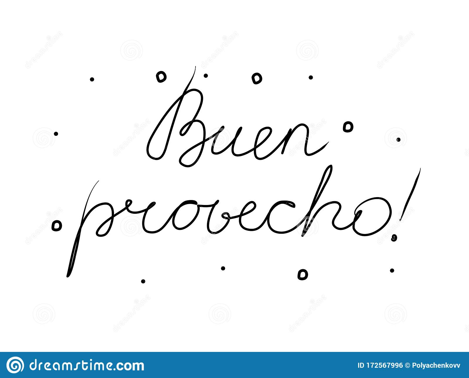 Buen Provecho Phrase Handwritten With A Calligraphy Brush
