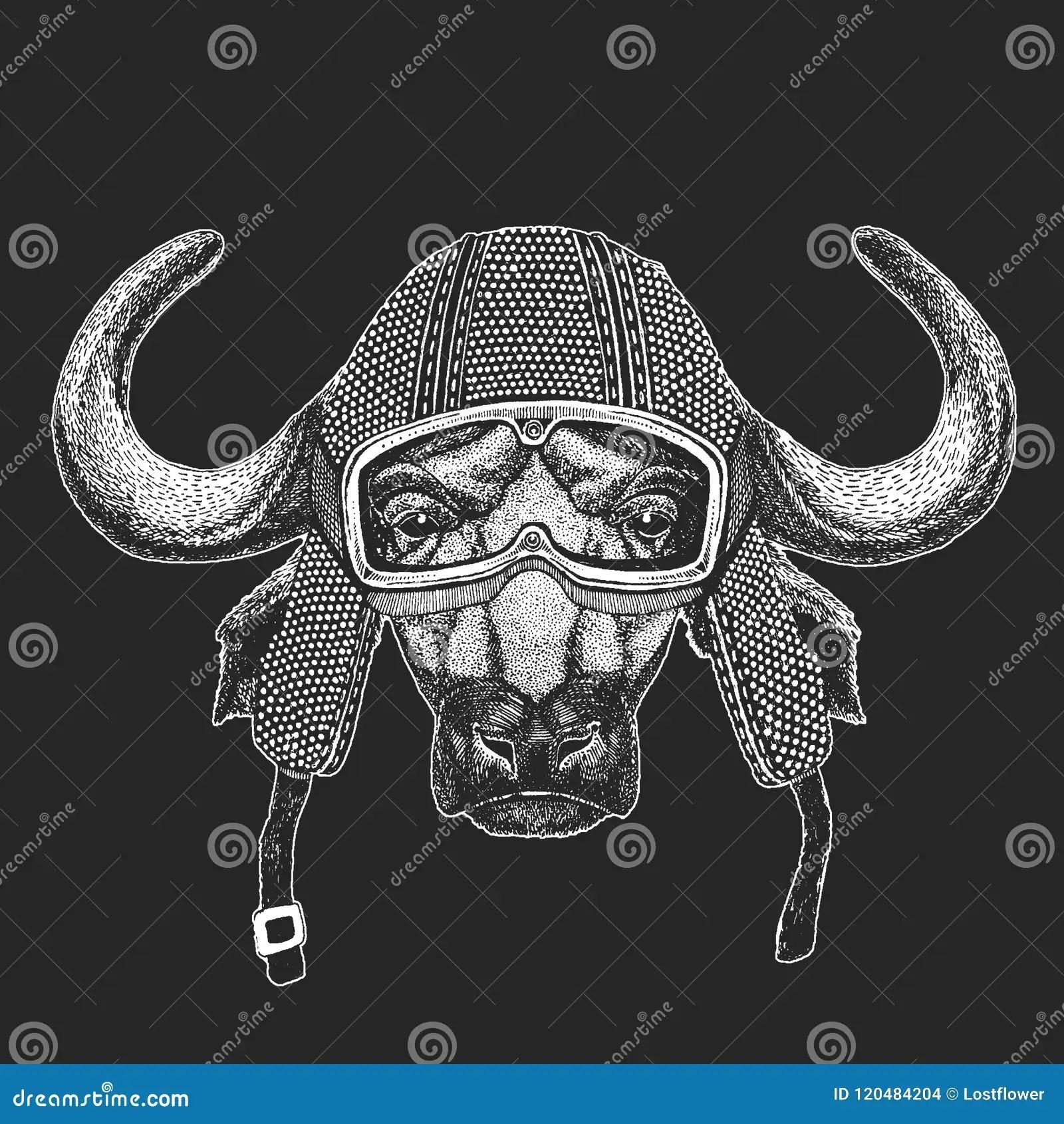 Buffalo Bull Ox Vintage Motorcycle Hemlet Retro Style