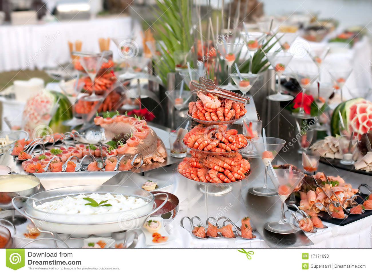 Buffet Table With Seafood Stock Photos Image 17171093
