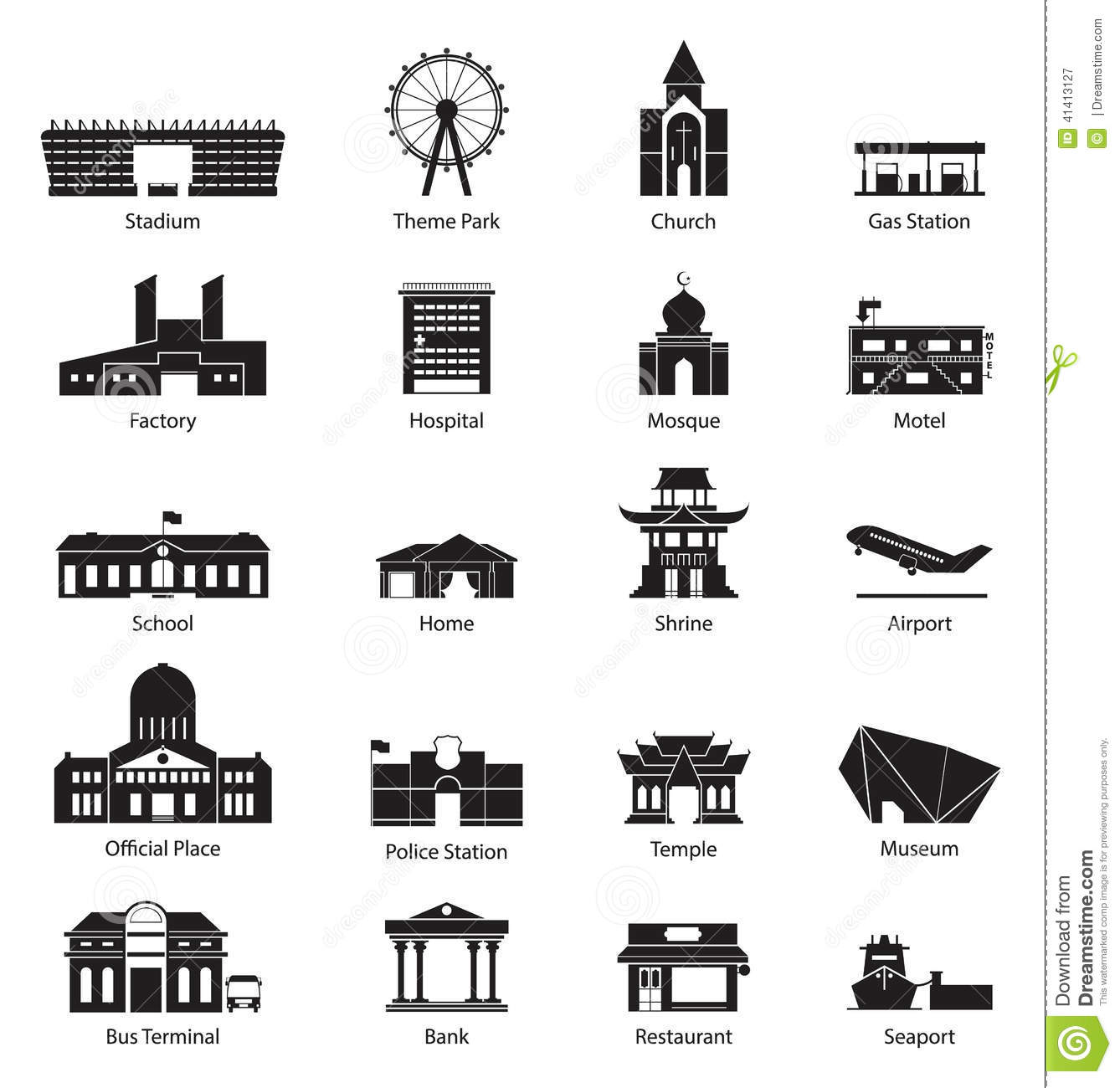 Building City Icon Set Stock Vector Illustration Of