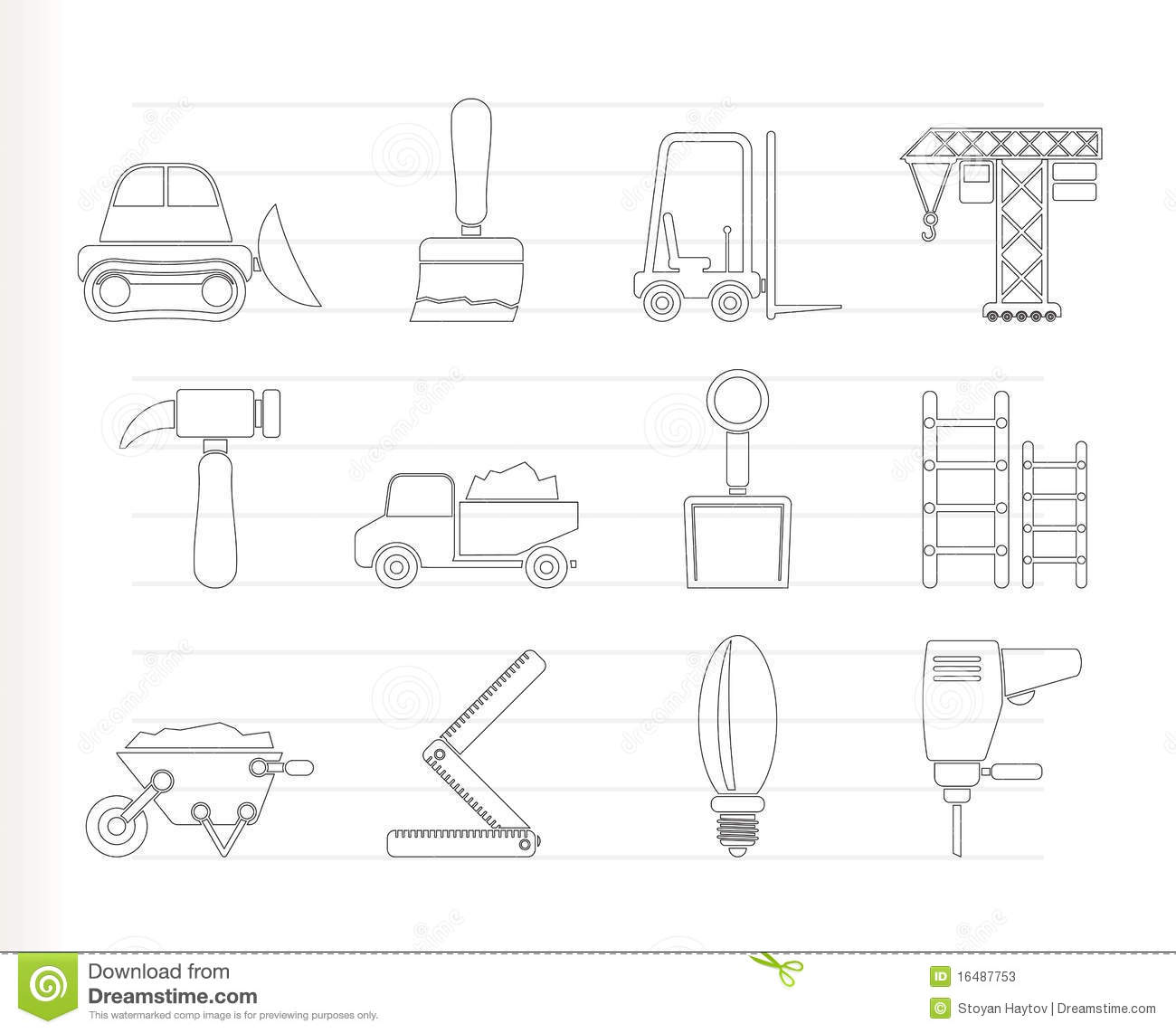 Building And Construction Equipment Icons Stock Photos
