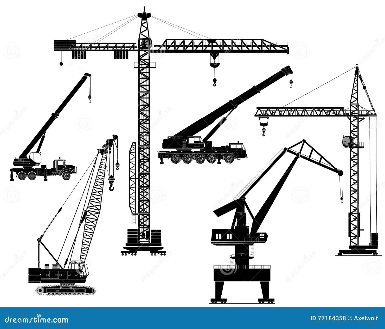 Cranes Silhouette Vector Cartoon Vector