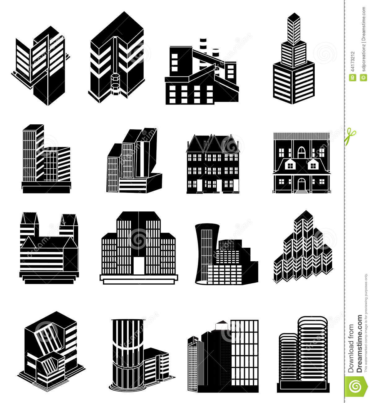 Building Icons Set Stock Vector