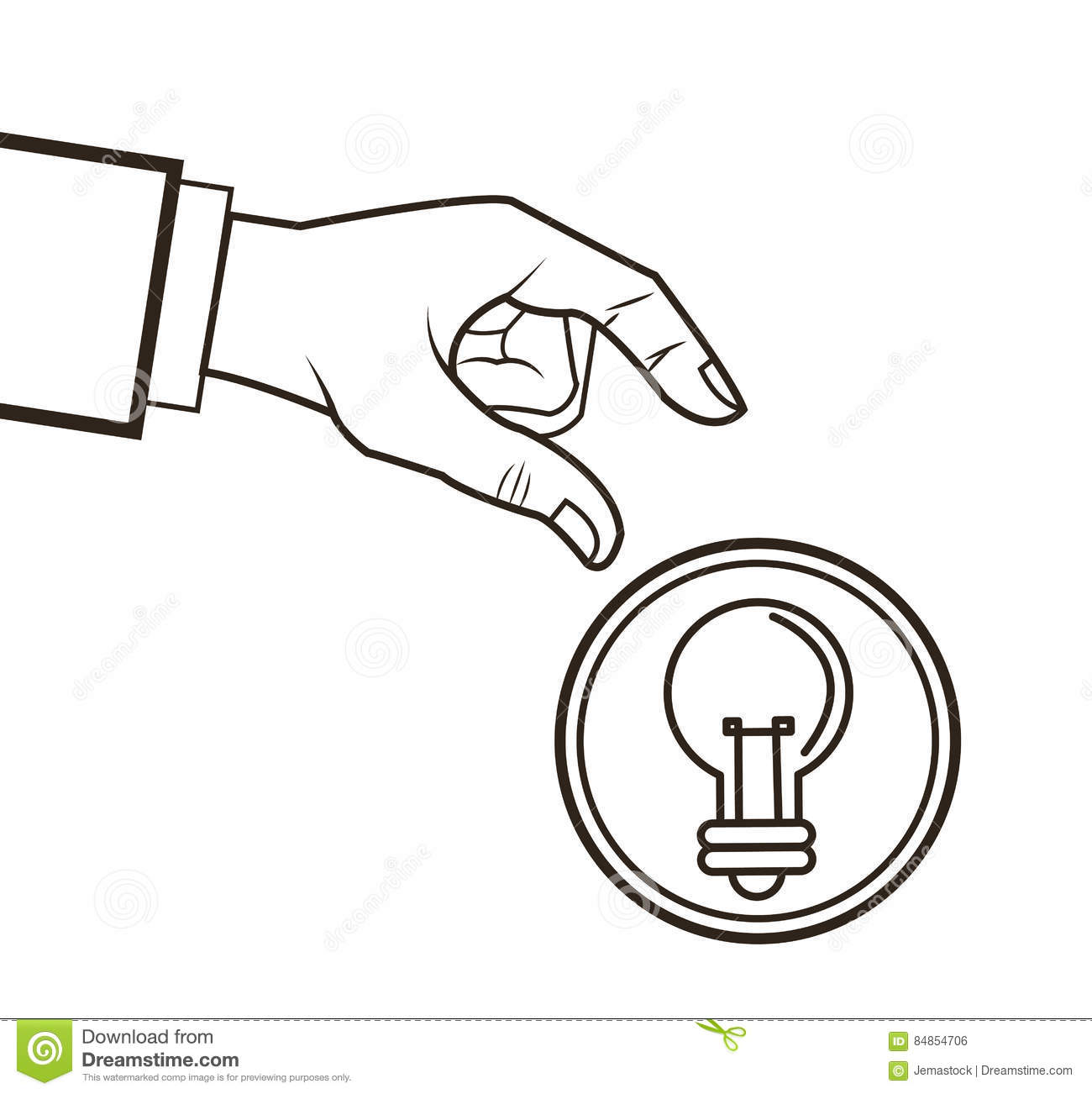 Bulb Hand Great Idea Solution Sketch Design Stock Vector