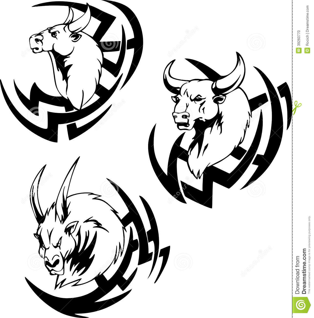 Bull Head Tattoo Stock Vector Illustration Of Bison