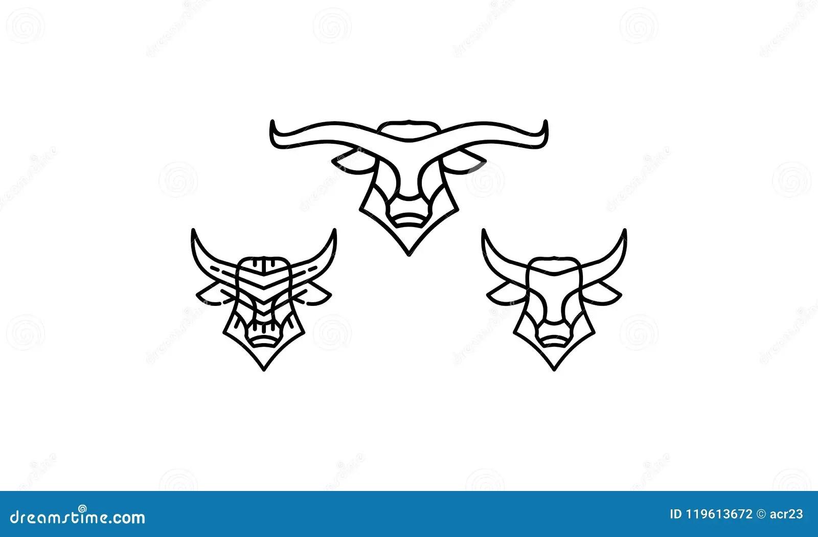 Bull Head Logo Set Vector Illustration