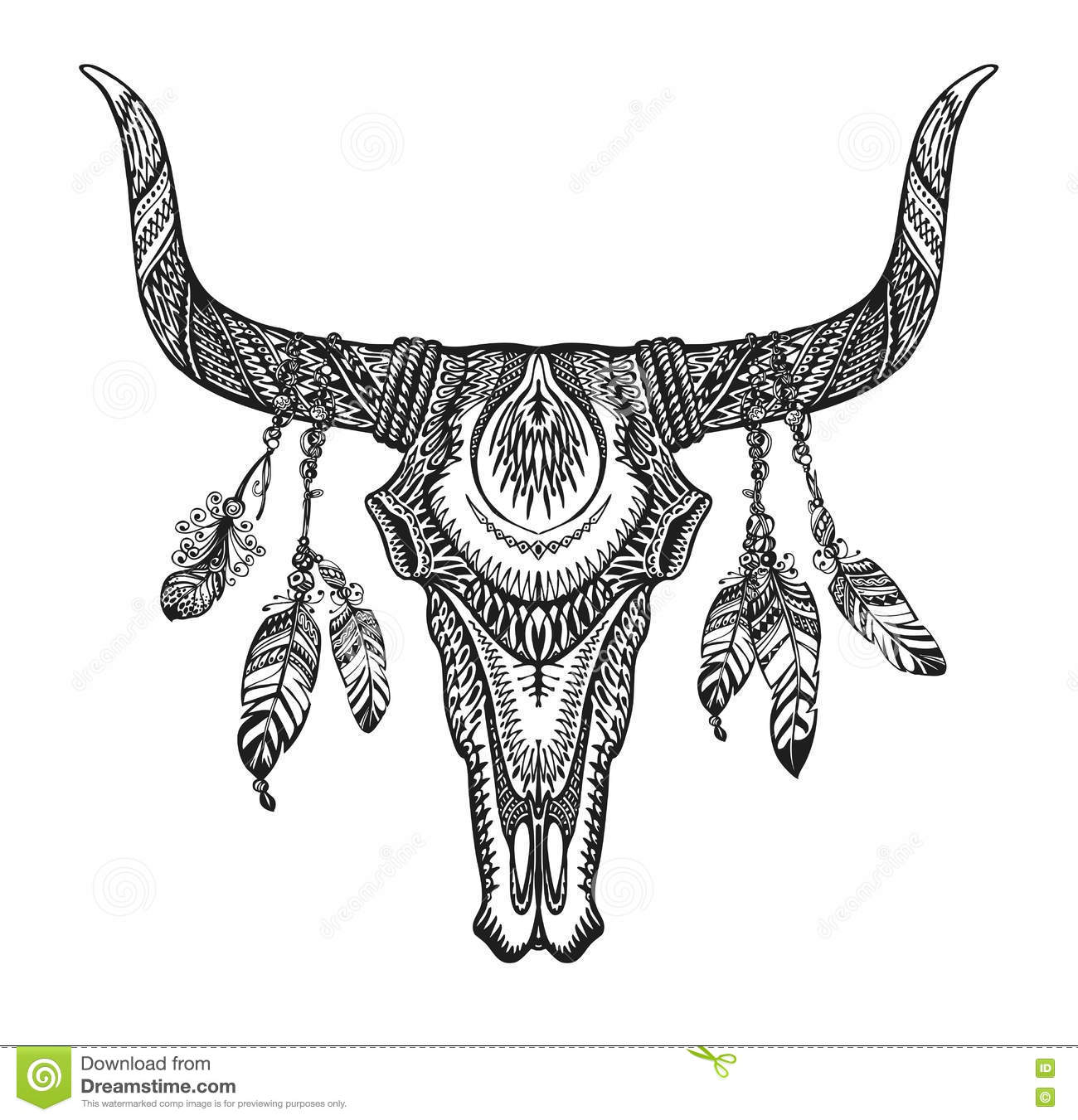 Bull Skull With Feathers Hand Drawn Sketch Native