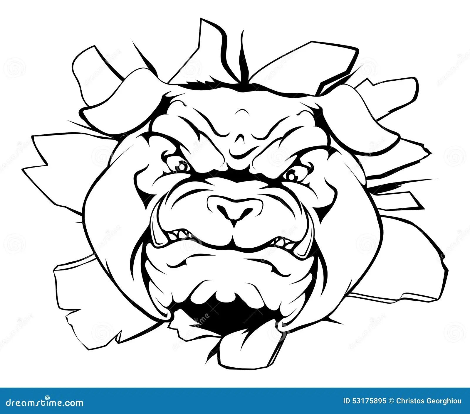 Bulldog Character Smashing Out Stock Vector