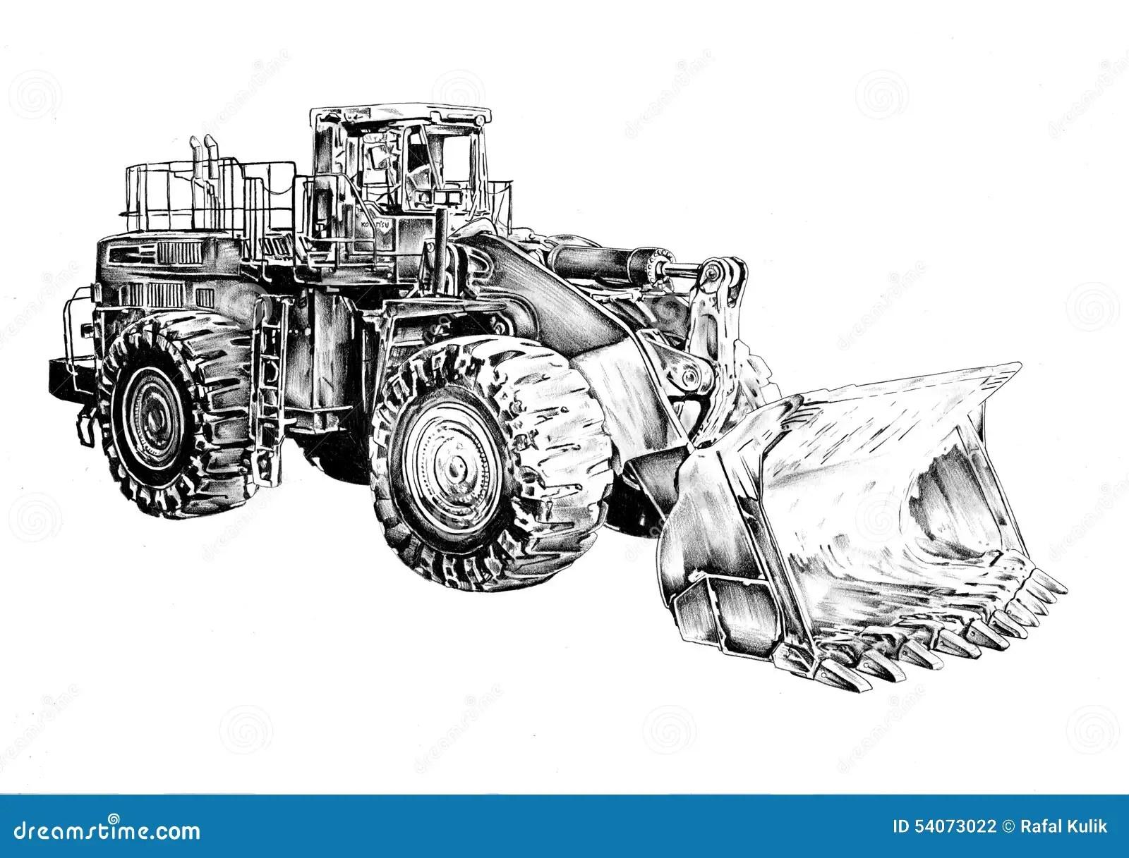 Bulldozer Illustration Art Drawing Sketch Stock