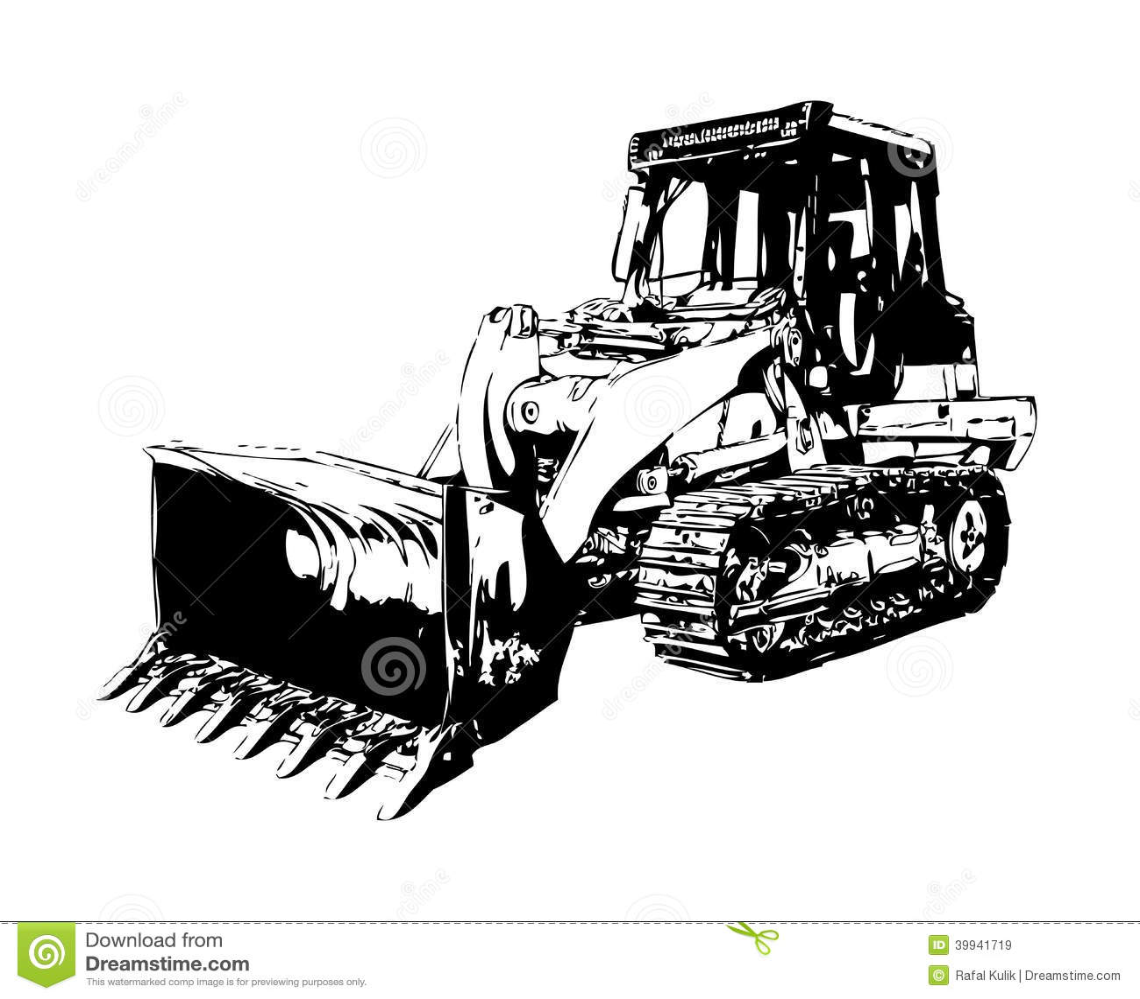 Bulldozer Illustration Color Art Stock Illustration