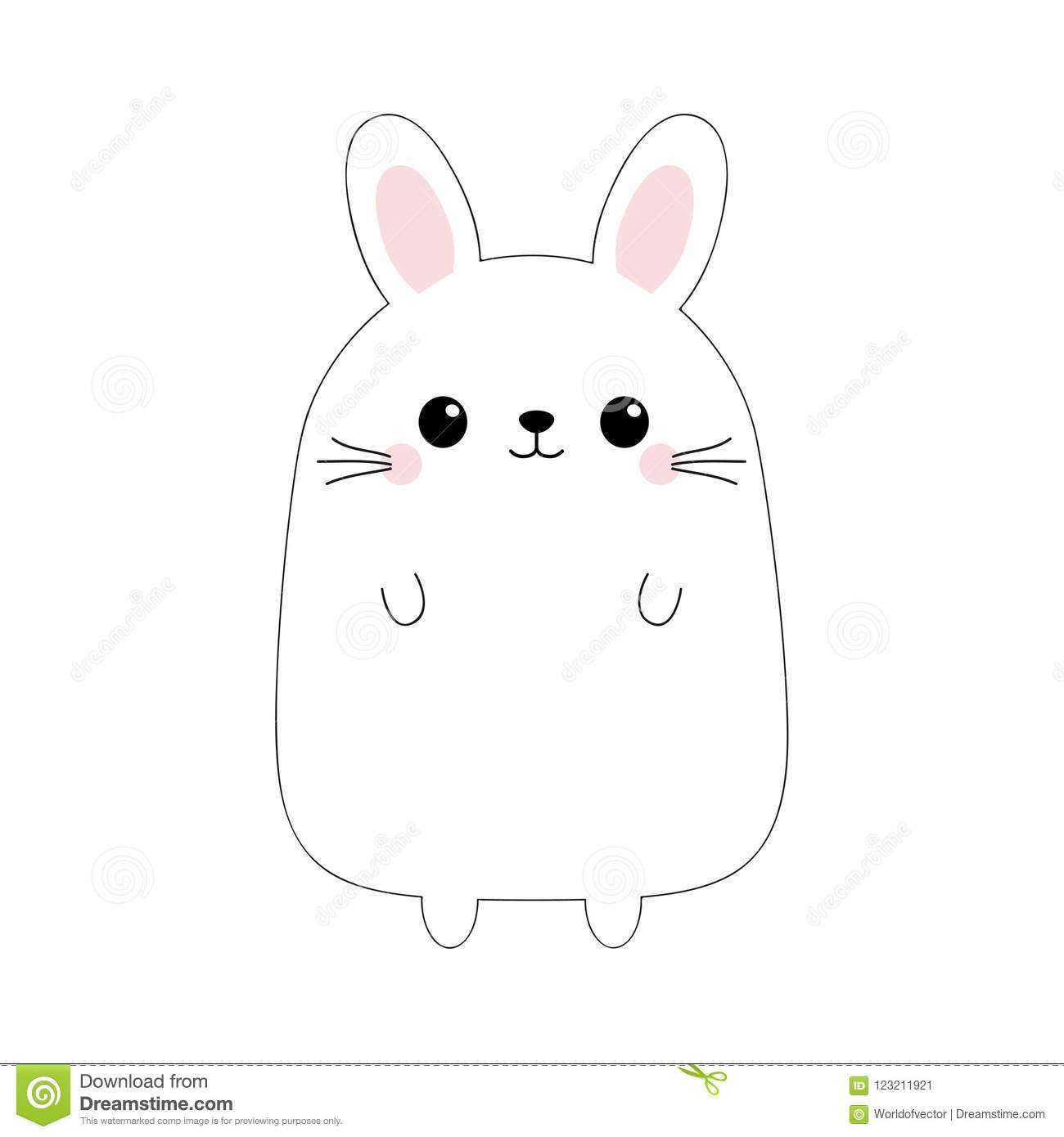 Bunny Rabbit Funny Head Face Doodle Linear Sketch Pink