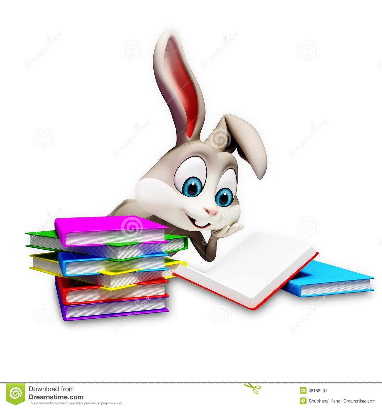 Bunny Reading A Books Stock Illustration Illustration Of