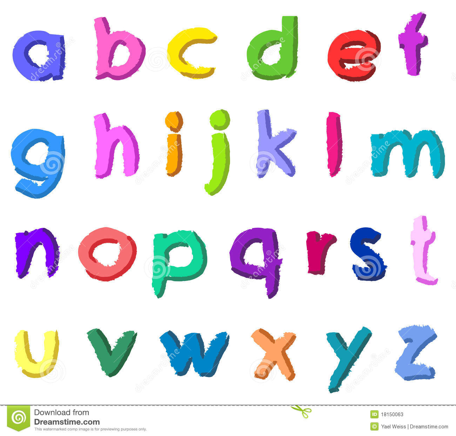 Bunte Hand Gezeichnete Kleine Buchstaben Stockfotos