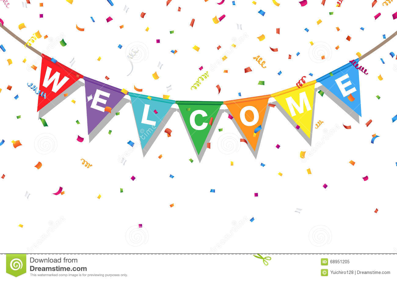 Bunting Colorful Flags And Confetti With Letters Welcome