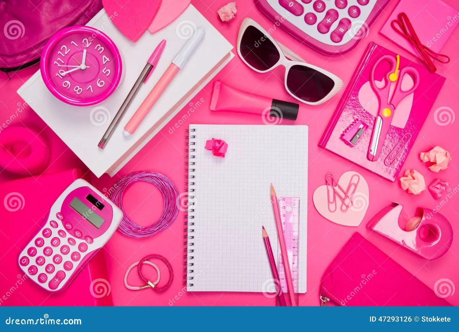 Bureau Et Papeterie Roses Girly Photo Stock Image Du