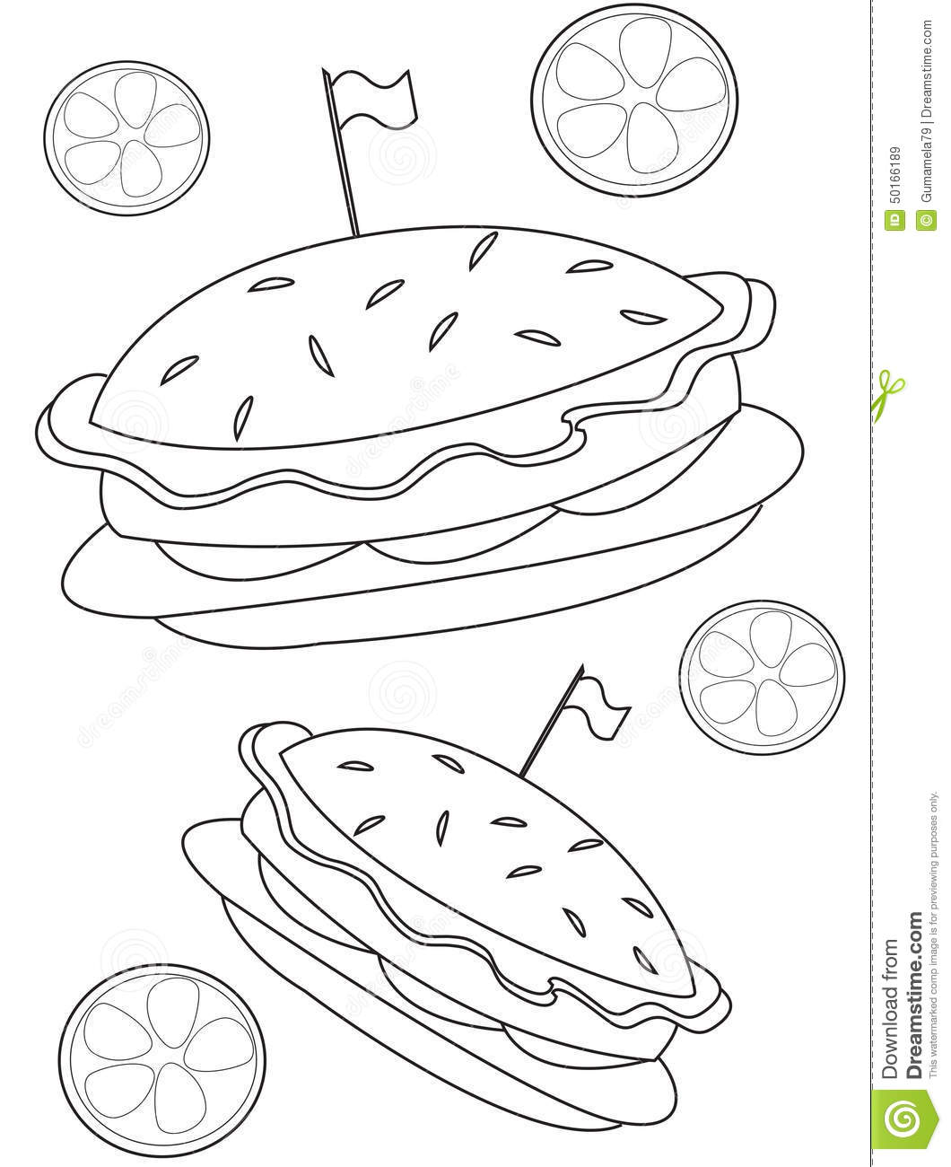 Burger Coloring Page Stock Illustration