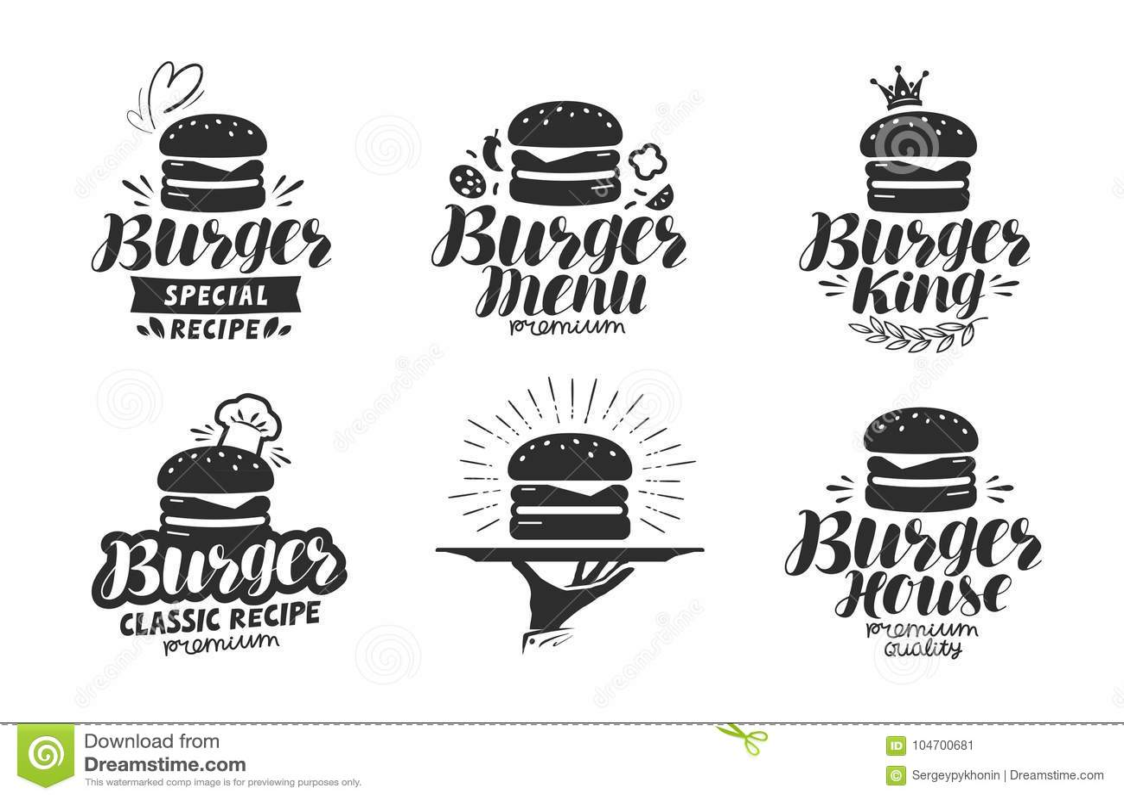 Burger Fast Food Logo Or Icon Emblem Label For Menu