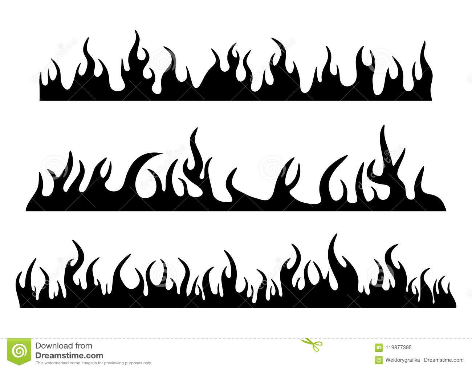 Burning Fire Flame Silhouette Set Banner Horizontal Design