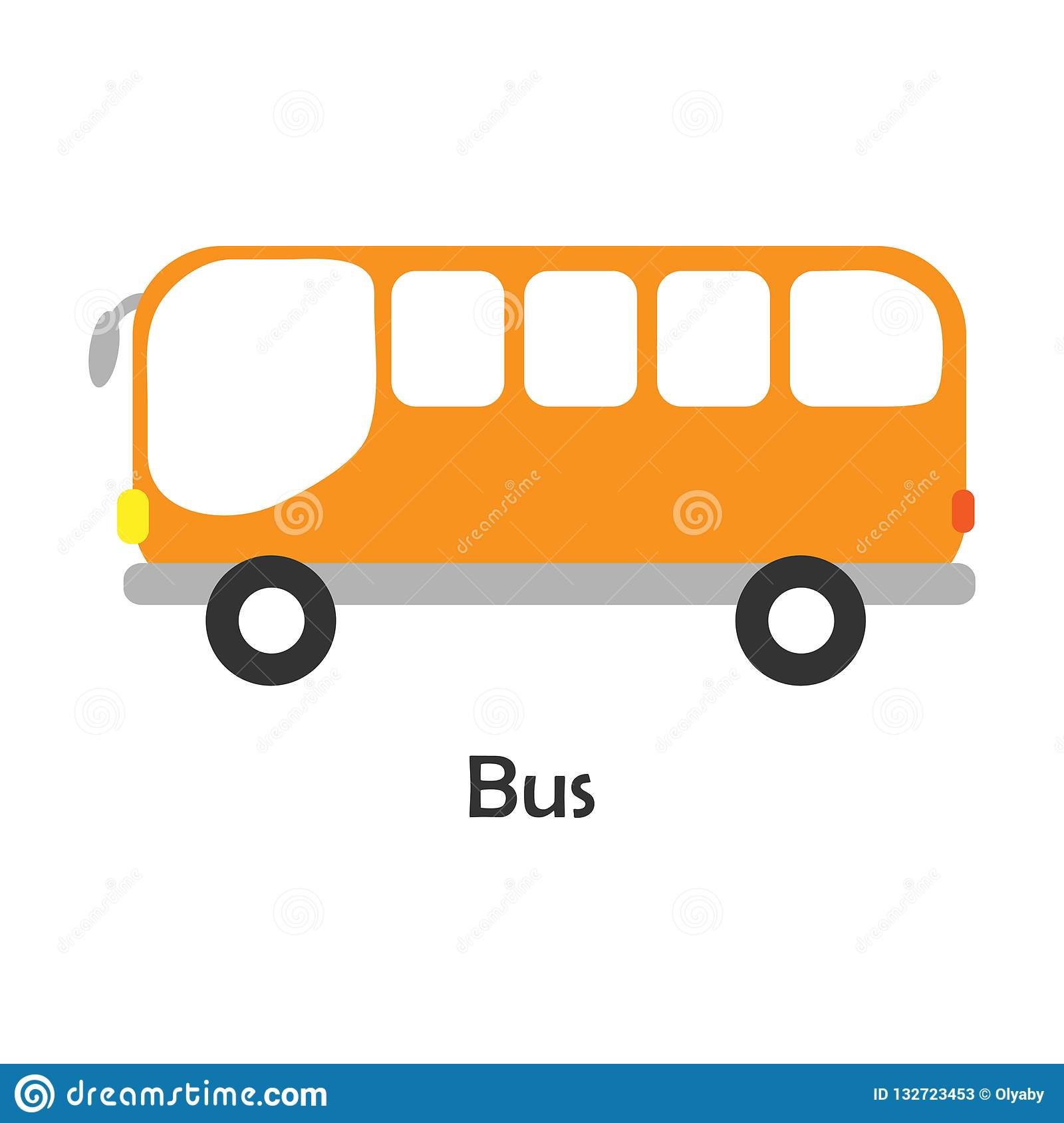 School Bus Transport For Children Vector Illustration