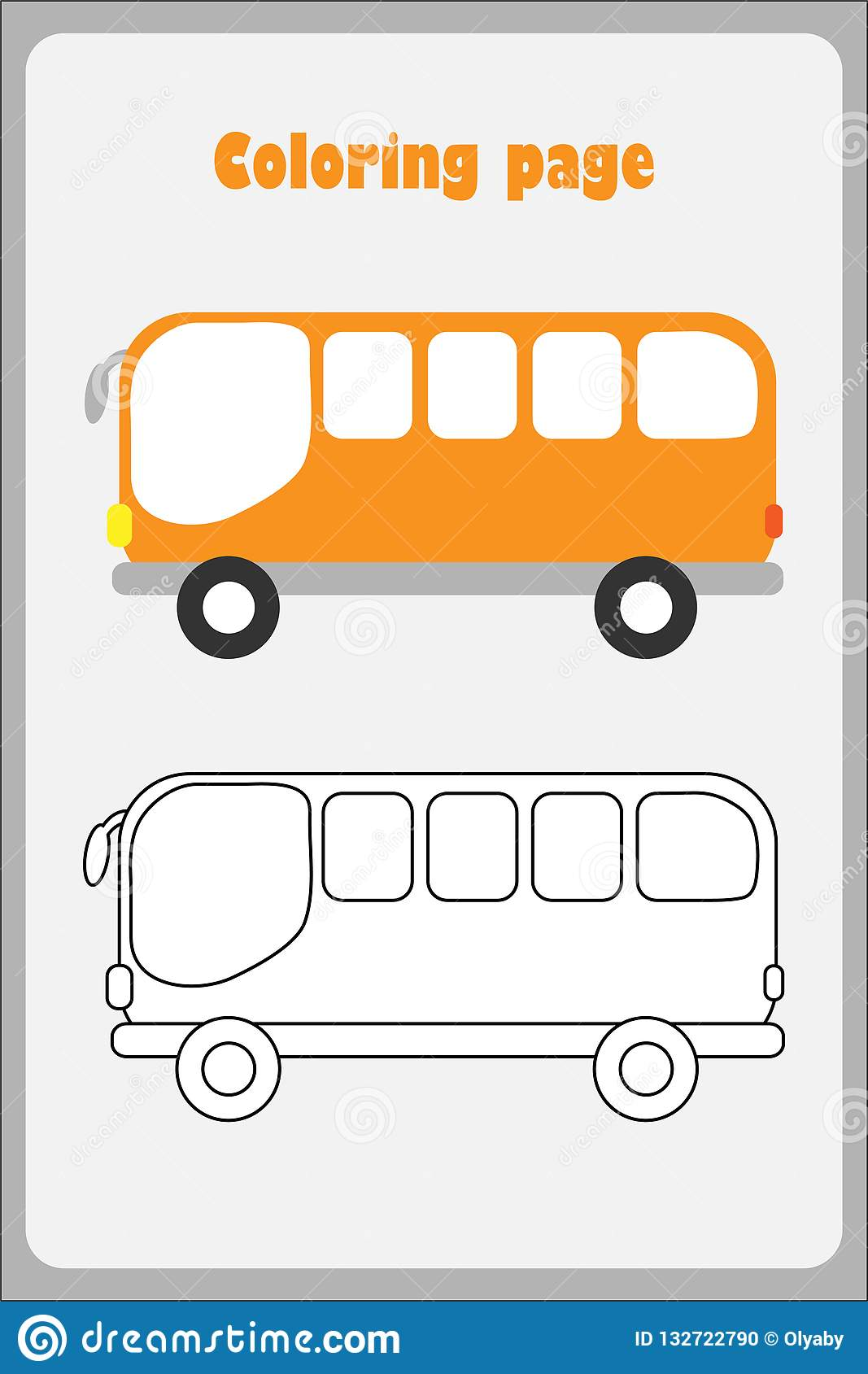 Bus In Cartoon Style Coloring Page Education Paper Game