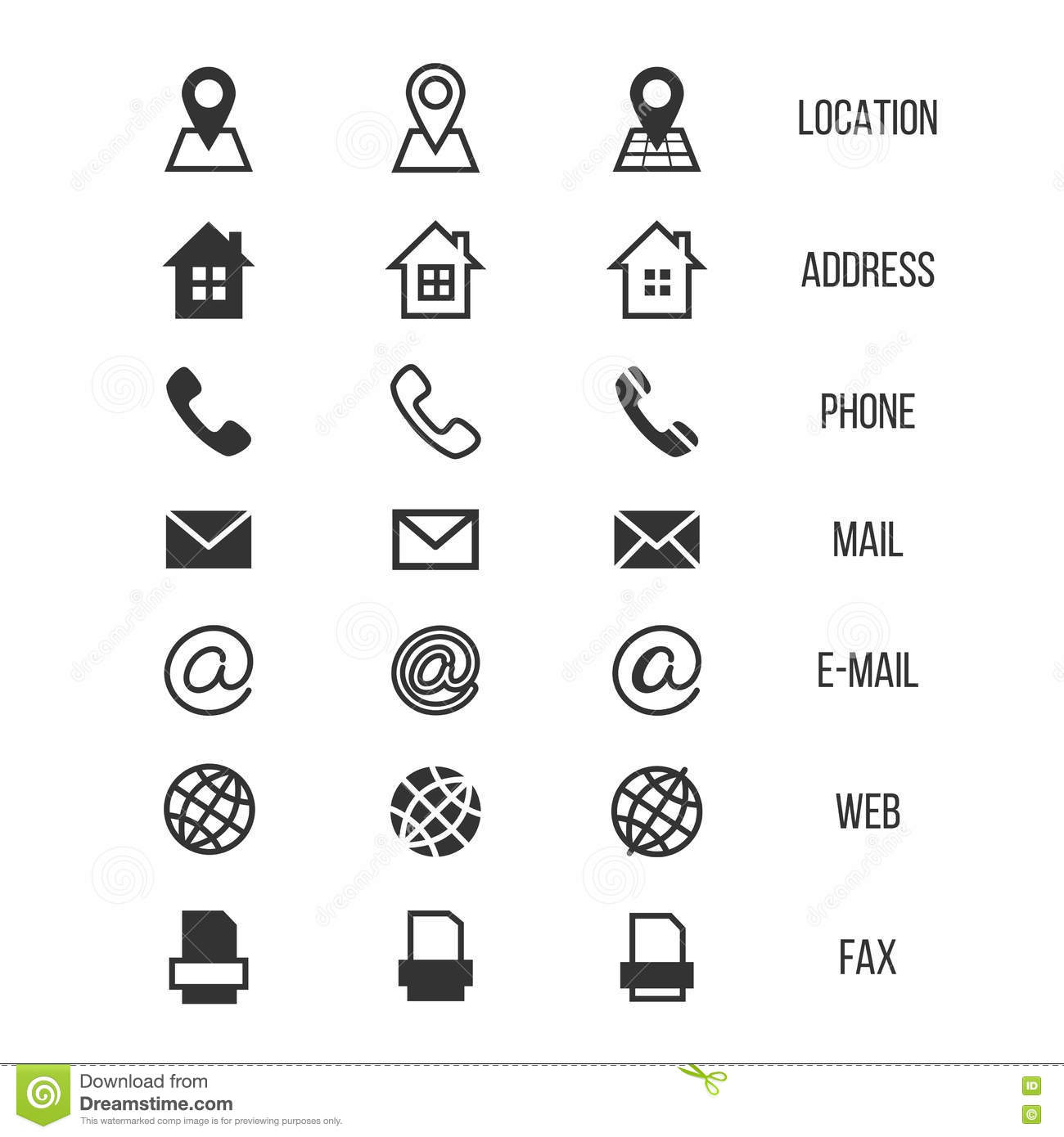 Business Card Vector Icons Home Phone Address