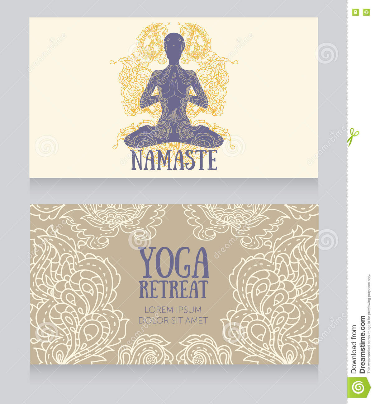 Business Cards Template For Yoga Retreat Or Yoga Studio