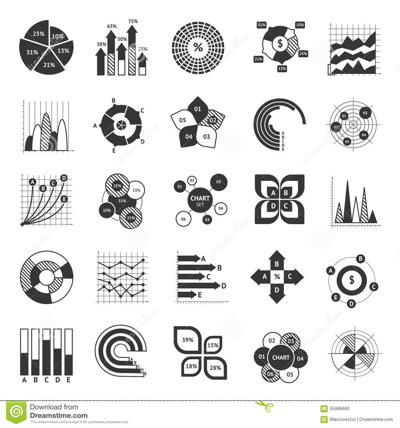 Business Chart Black And White Set Stock Vector