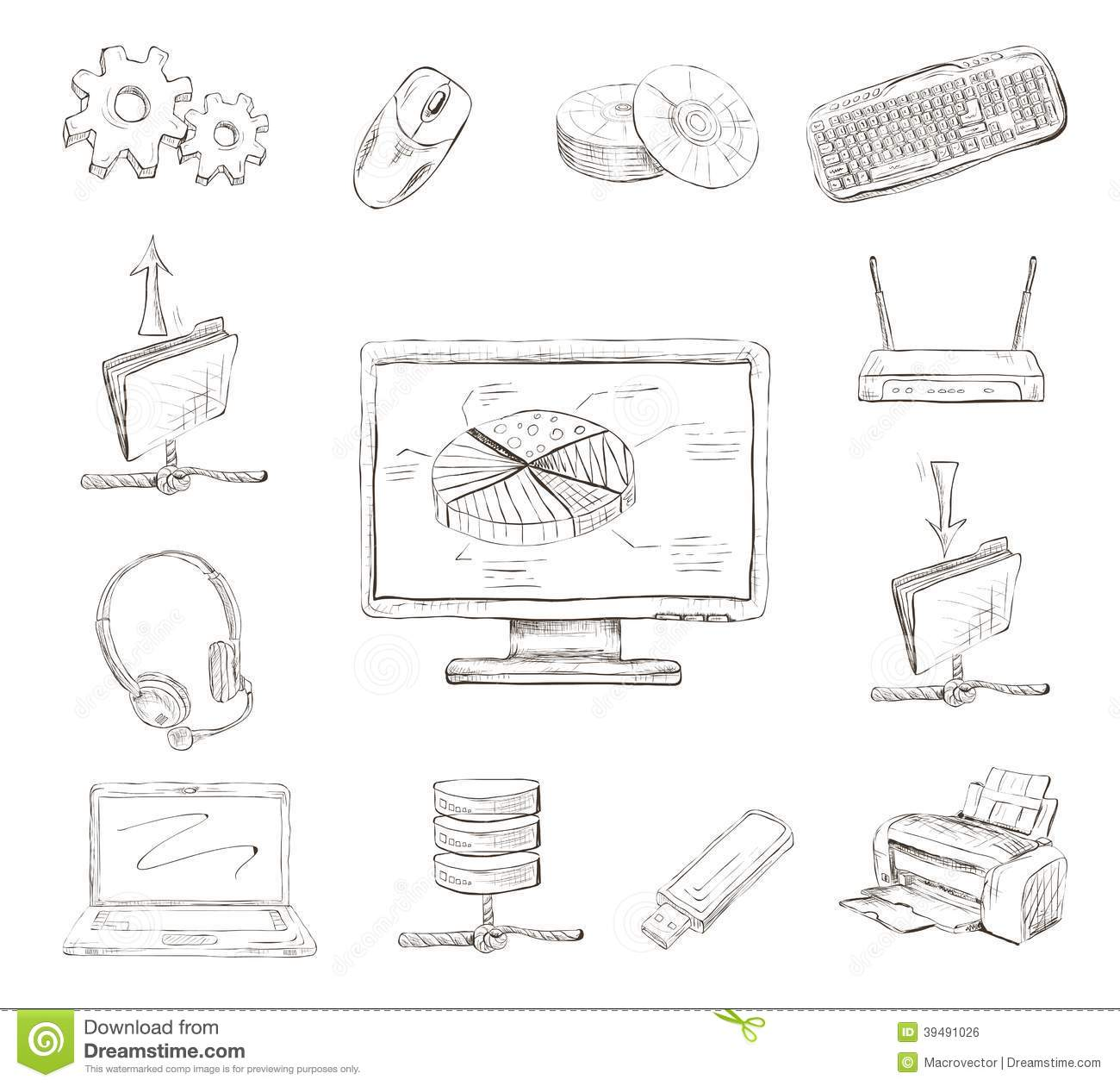 Business Computer Icons Set Stock Vector