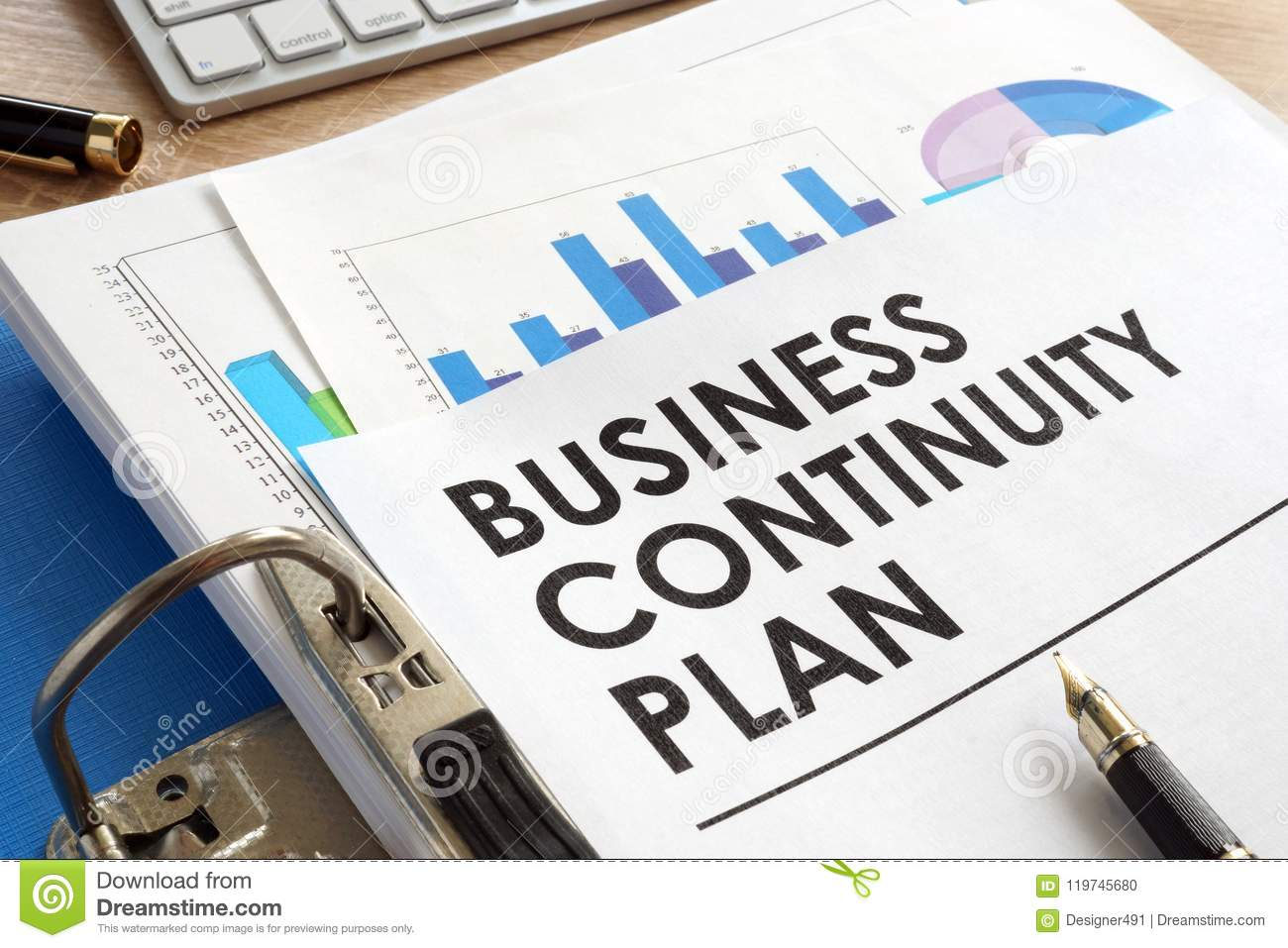 Business Continuity Plan In A Folder Stock Photo