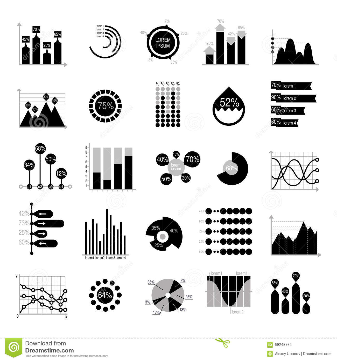 Black Silhouette Business Icons Cartoon Vector