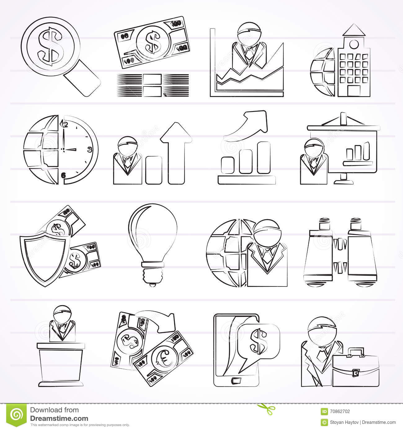 Business And Finance Strategies Icons Vector Illustration