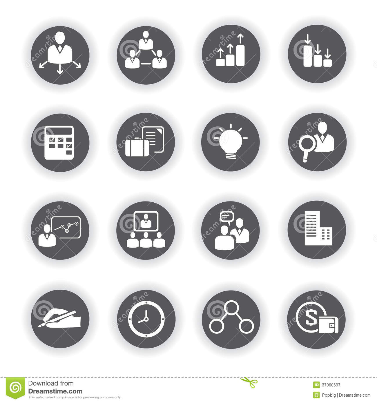 Business Icons Round Buttons Stock Illustration
