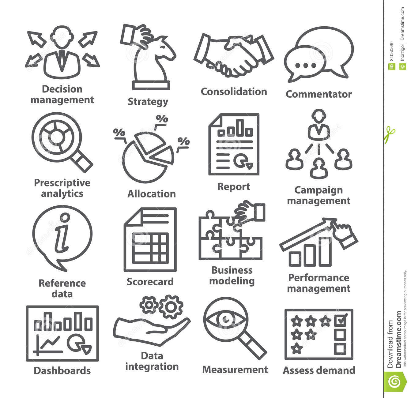 Business Management Icons In Line Style Pack 18 Stock