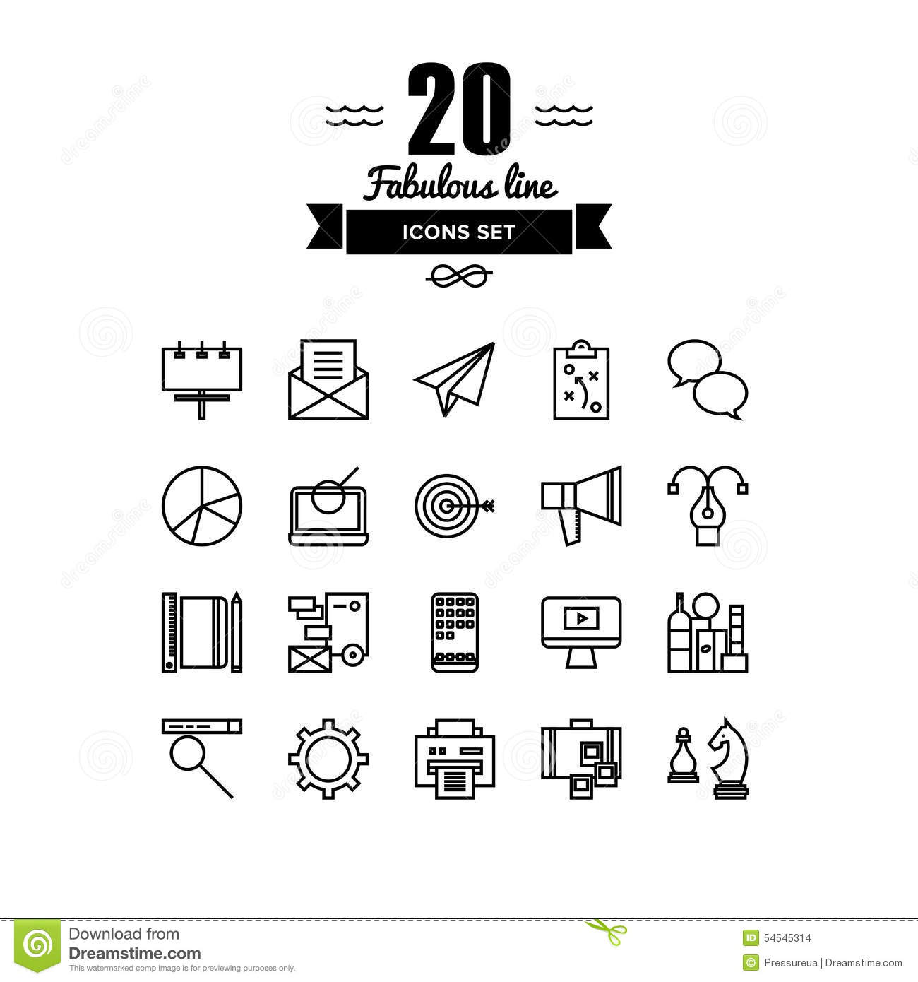 Business And Marketing Line Icons Set Stock Vector