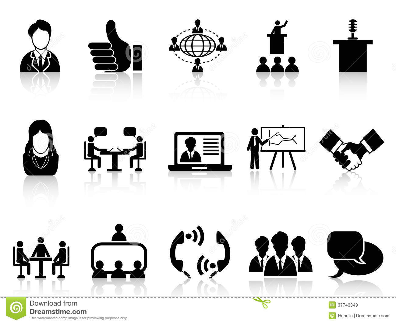 Business Meeting Icons Set Stock Vector Illustration Of