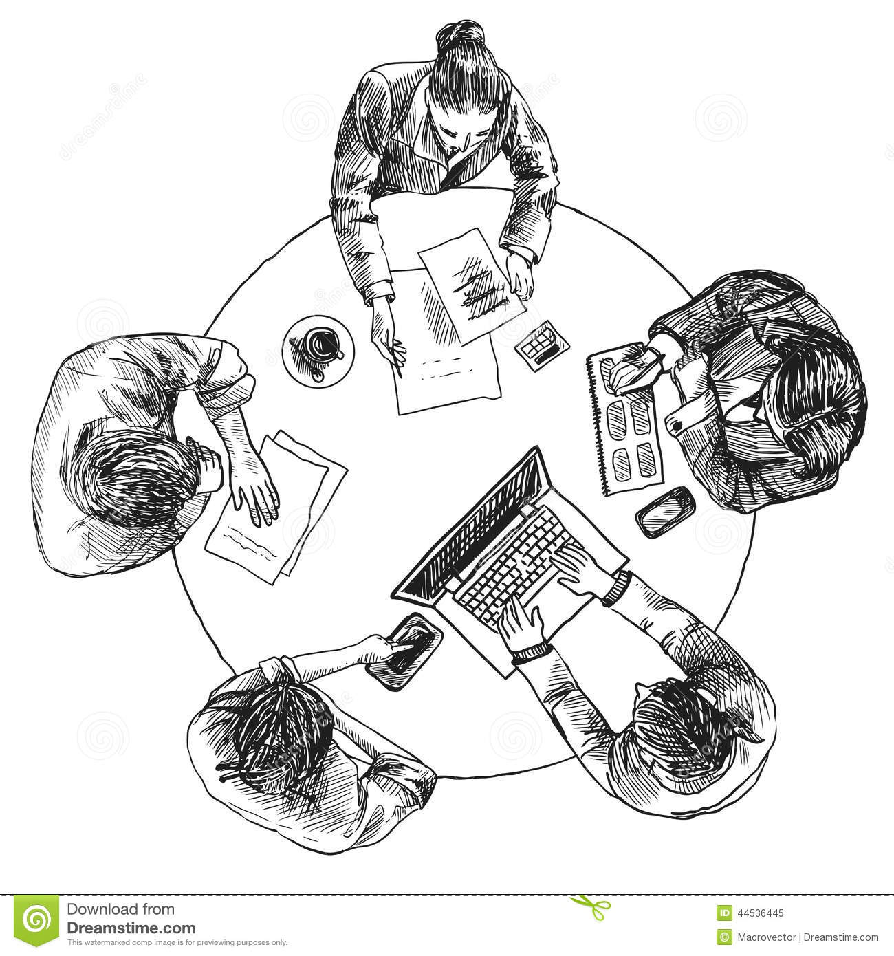 Business Meeting Top View Stock Vector