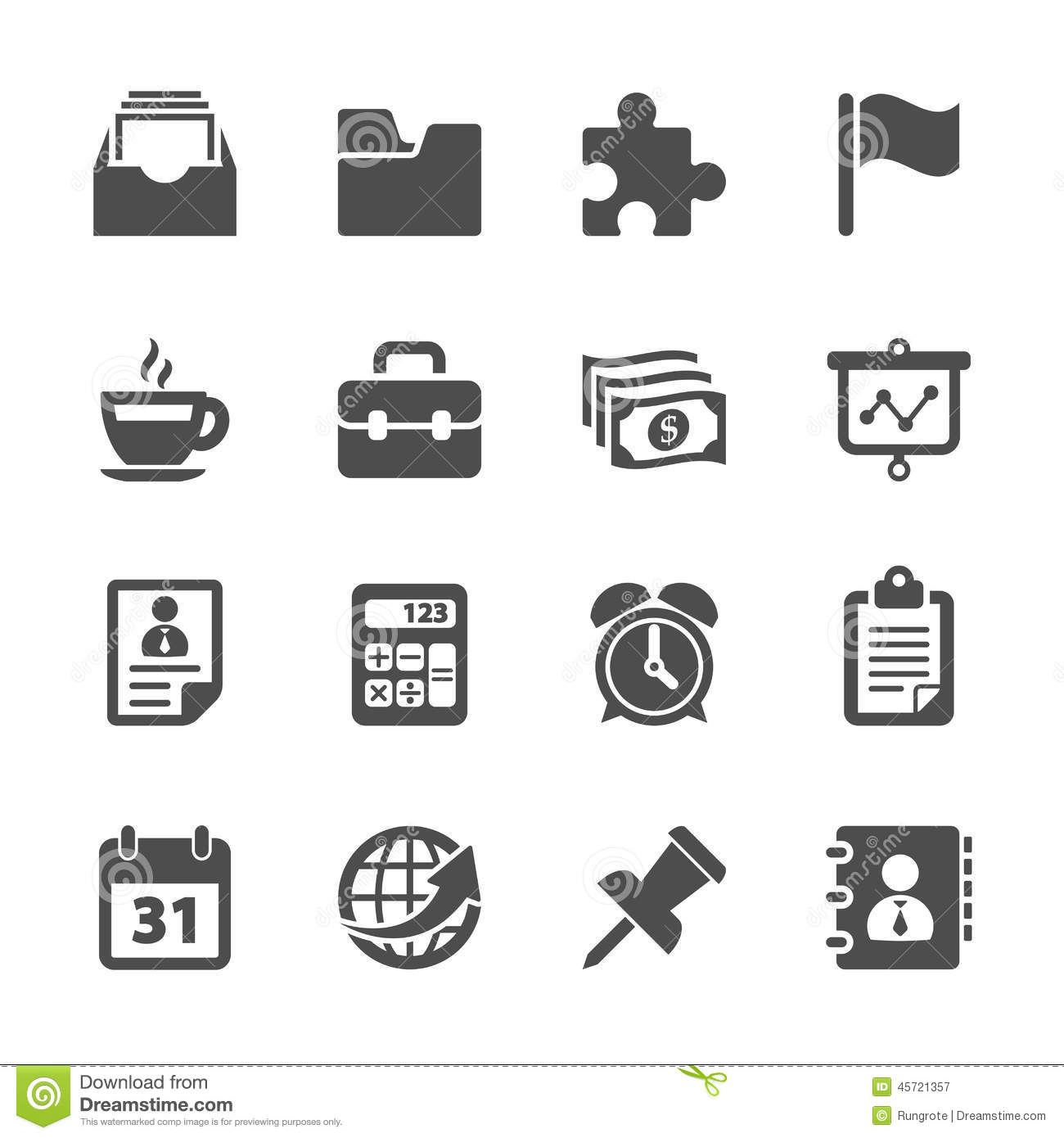 Business And Office Work Icon Set Vector Eps10 Stock