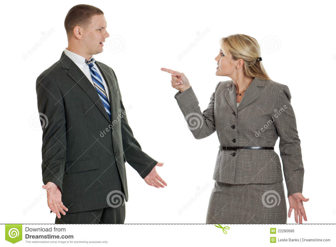 Business People Arguing Isolated On White Royalty Free