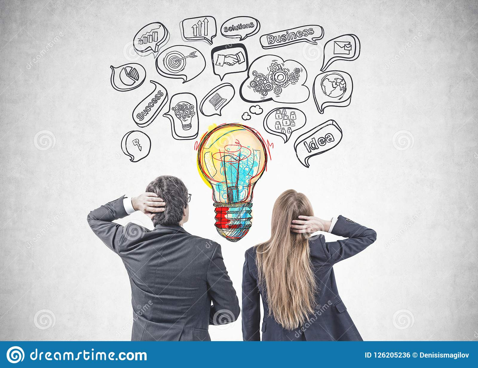 Business People Brainstorming For Best Idea Stock Photo