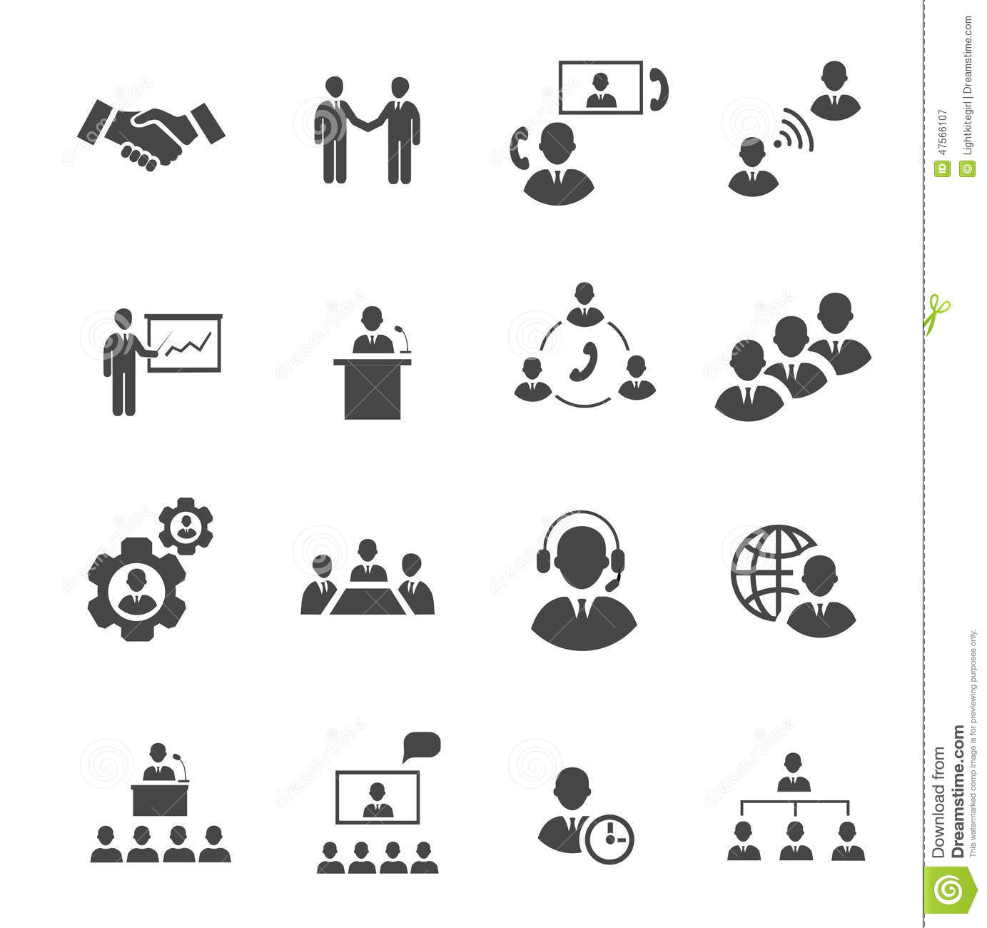 Business People Online Meeting Strategic Pictograms Set