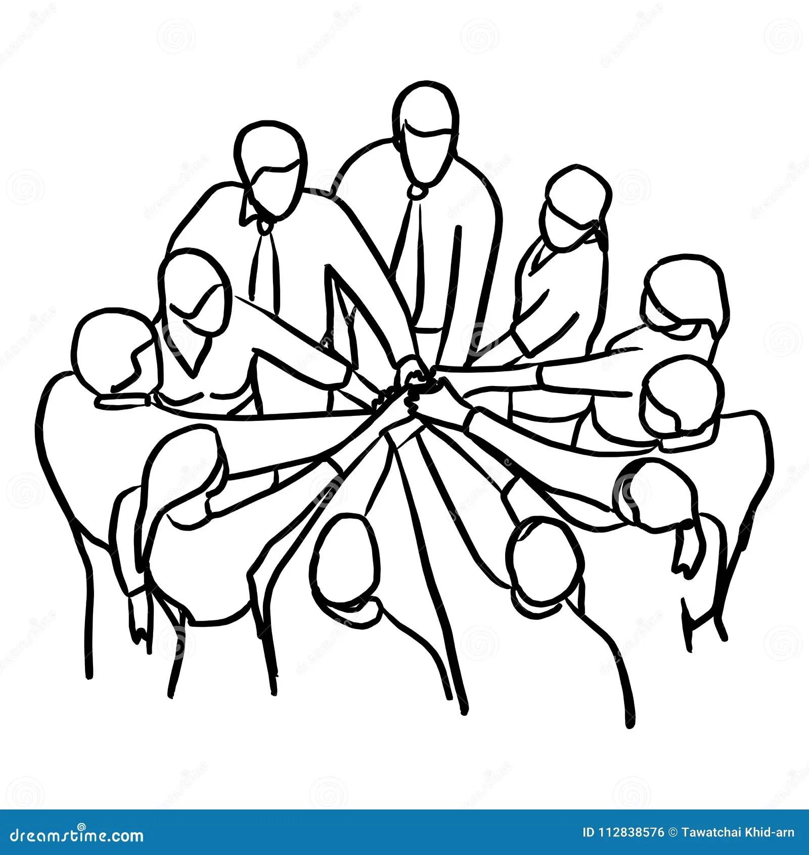 Business People Teamwork Join Hands Vector Illustration