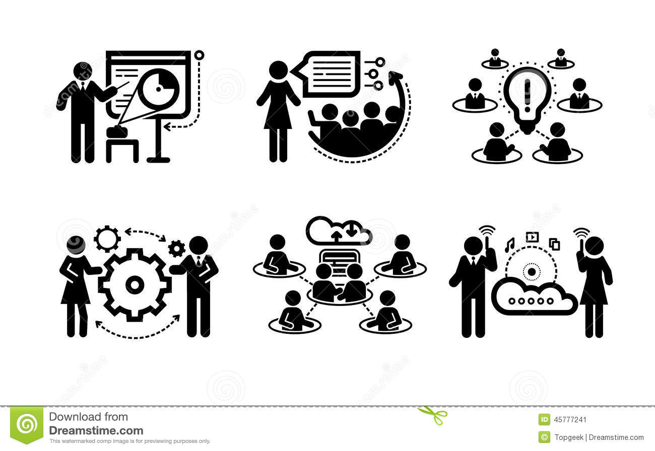 Business Presentation Teamwork Concept Icons Stock Vector