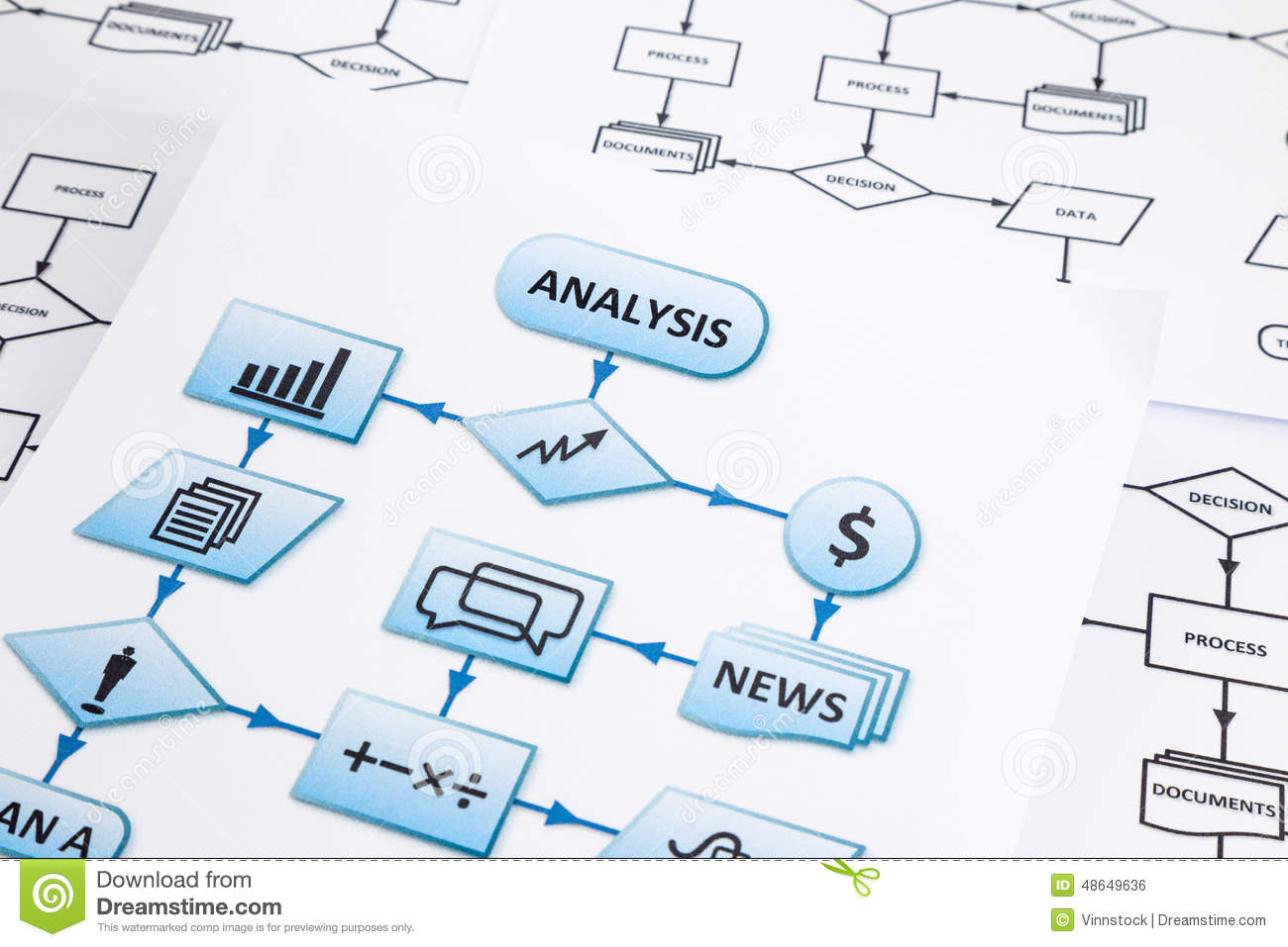 Business Processysis Worksheets Stock Photo