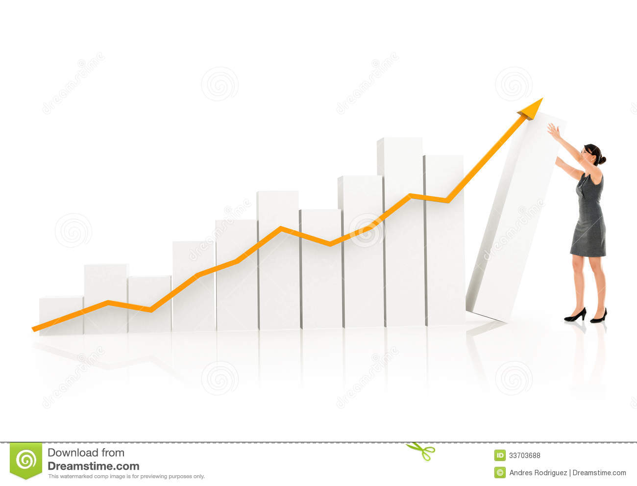 Business Woman With A Growth Graph Stock Photo