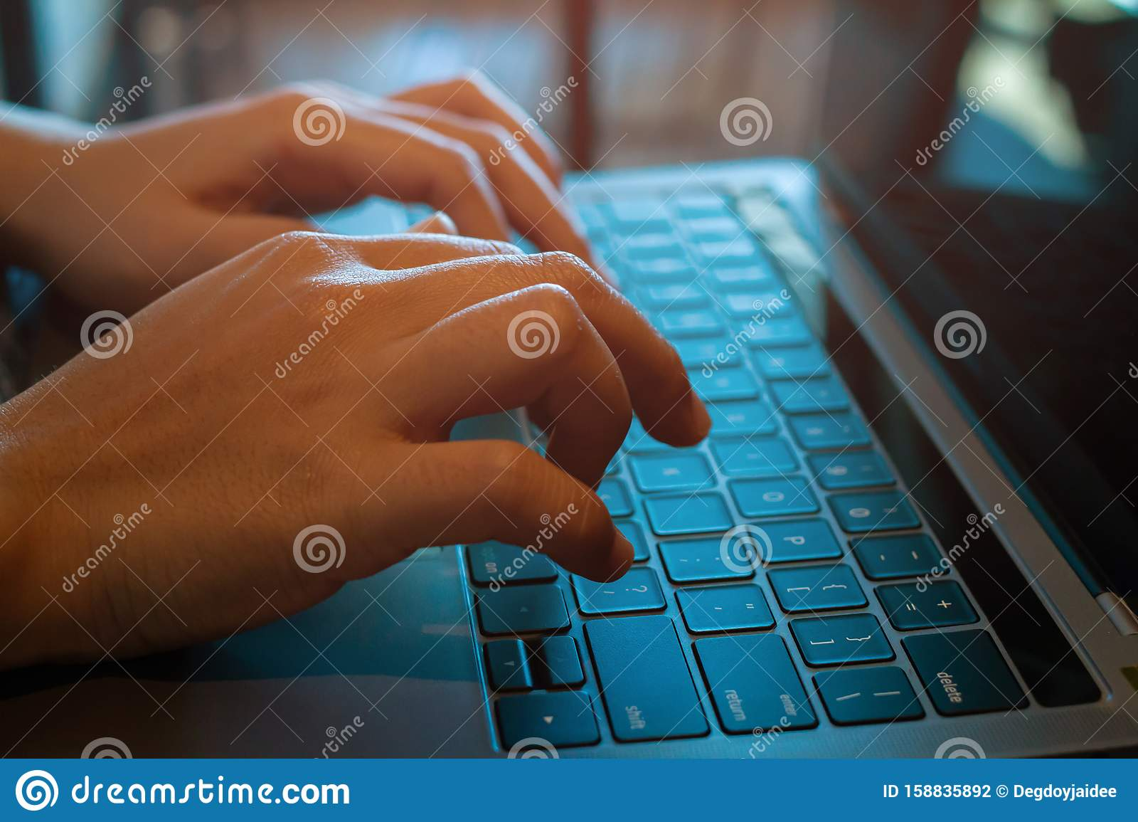 Business Woman Hands Typing Keyboard On Laptop Working