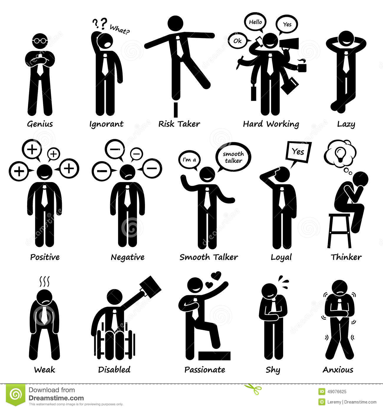 Businessman Attitude Personalities Characters Cliparts