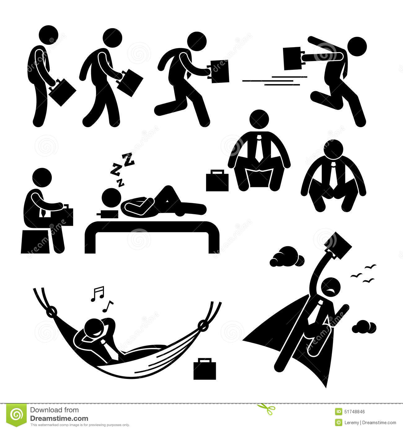 Businessman Business Man Actions Cliparts Stock Vector