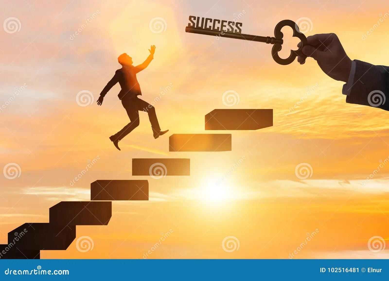 The Businessman Climbing The Career Ladder Of Success