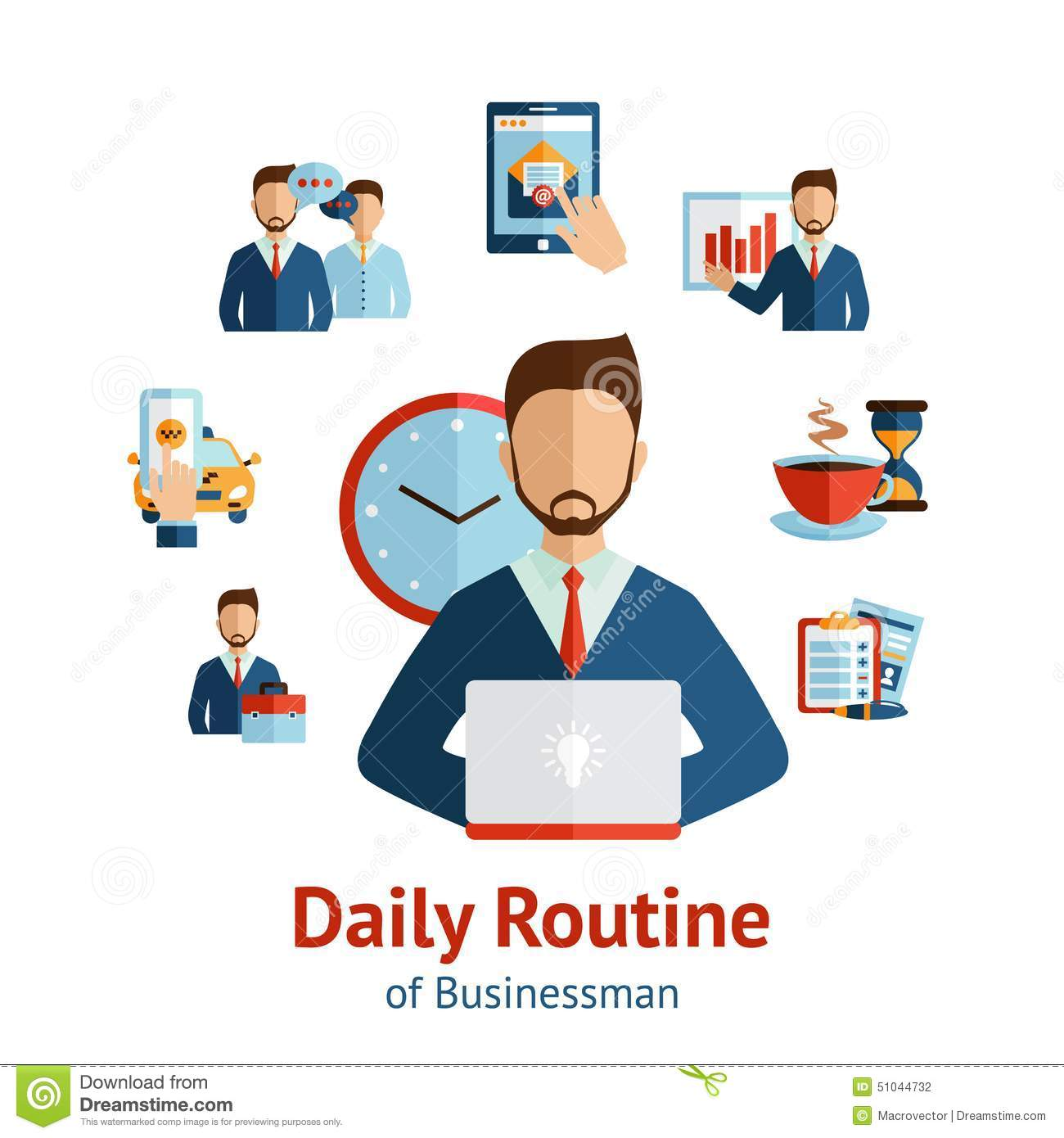 Businessman Daily Routine Concept Poster Stock Vector